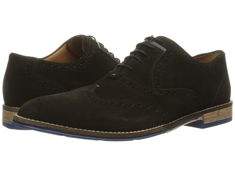 Hush Puppies Style Brogue Black Suede Mens Lace Up Wing Tip Shoes