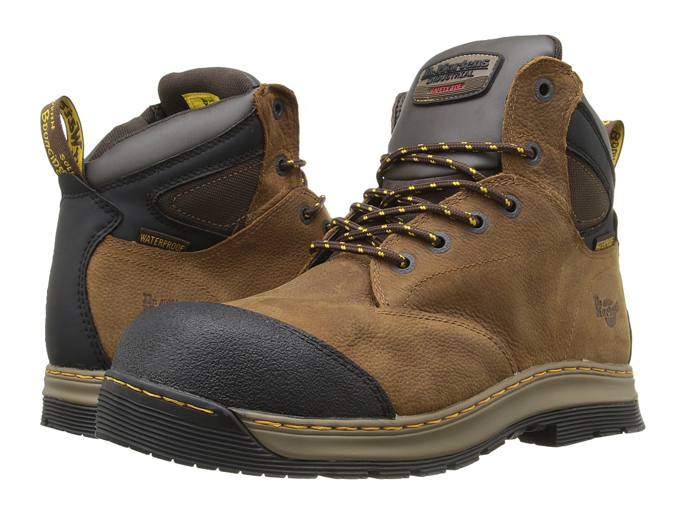 Dr. Martens - Deluge Electrical Hazard Waterproof Steel Toe 6-Eye Boot (Brown Overlord Waterproof) Men's Work Lace-up Boots