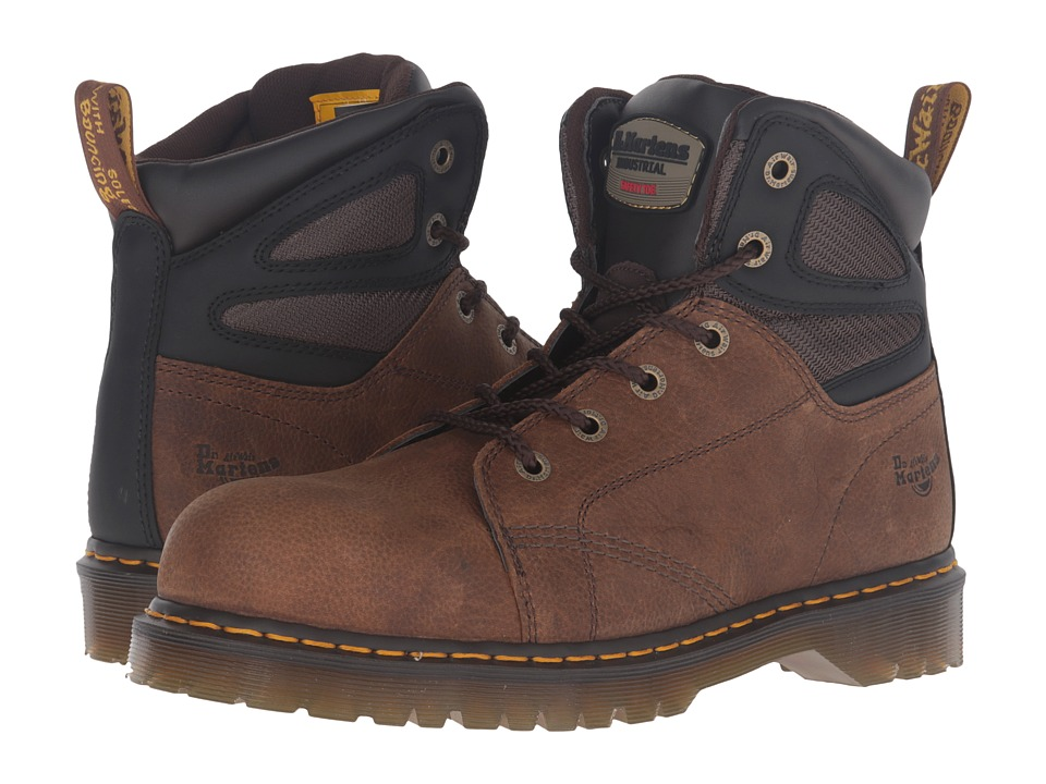 Dr. Martens - Fairleigh Steel Toe 6-Eye Boot (Brown Overlord) Work Lace-up Boots