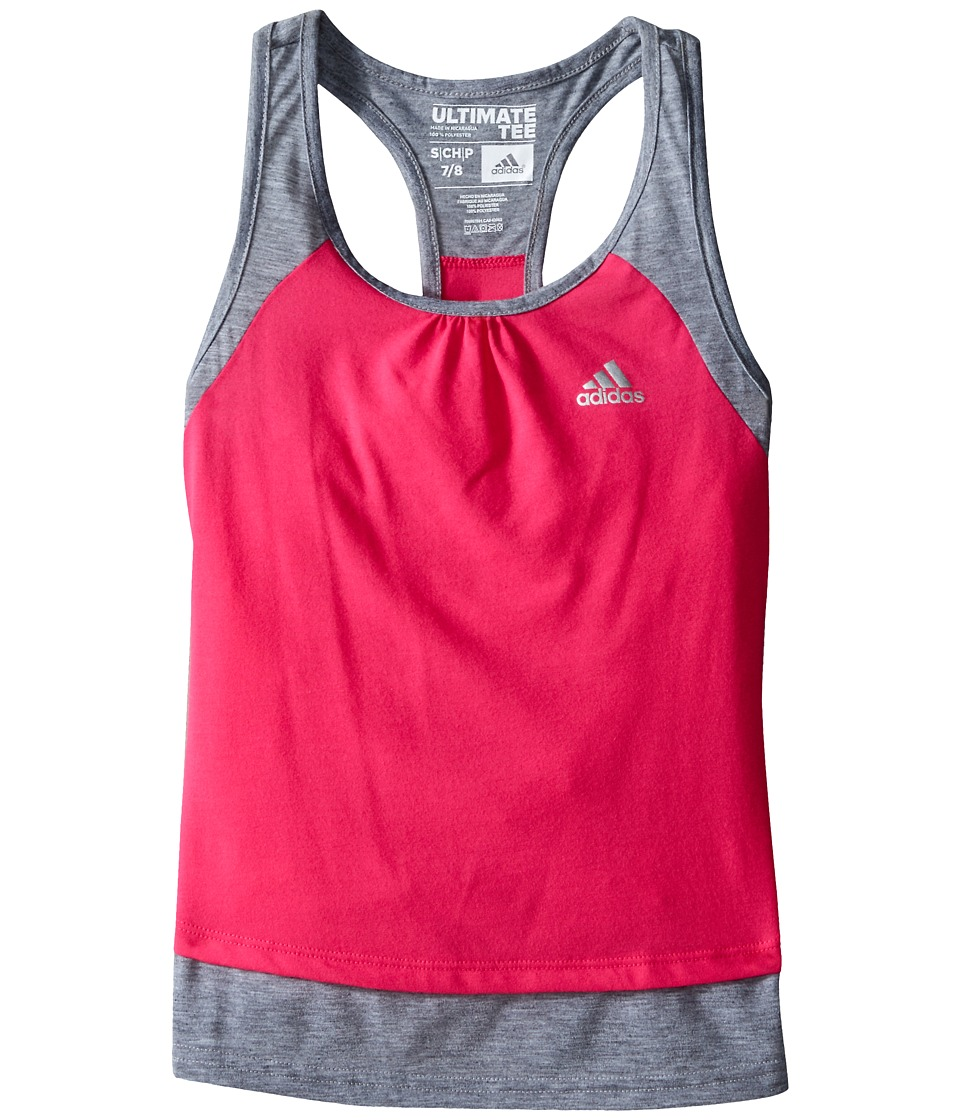 adidas Kids - Ultimate Tank Top (Big Kids) (Medium Grey Heather/Shock Pink) Girl's Sleeveless