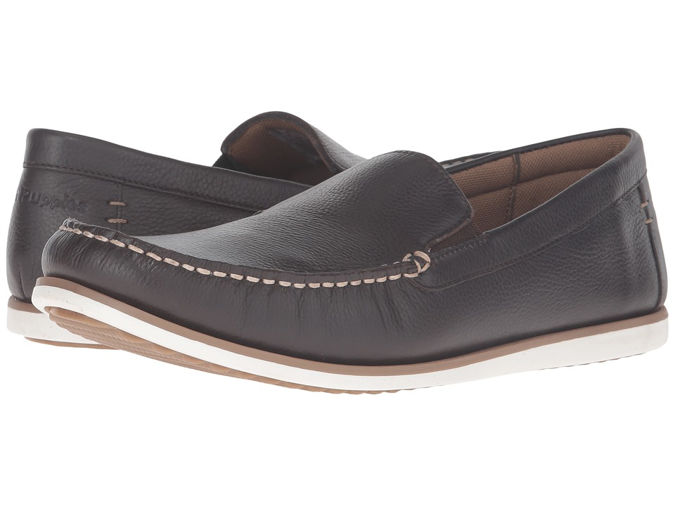 Hush Puppies - Bob Portland (Dark Brown Leather) Men's Slip on Shoes