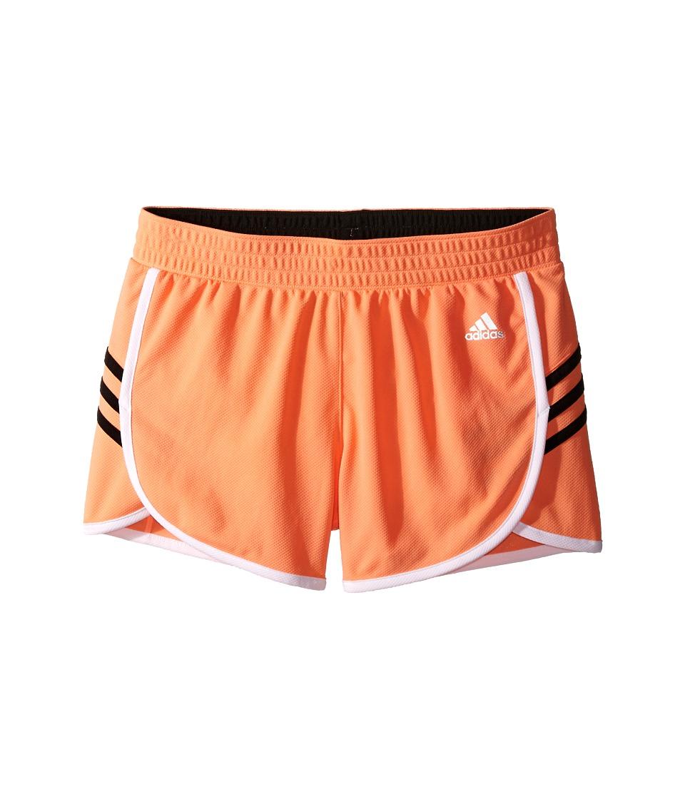 adidas Kids - Ultimate 3 Stripe Knit Shorts (Big Kids) (Sun Glow/Black) Girl's Shorts