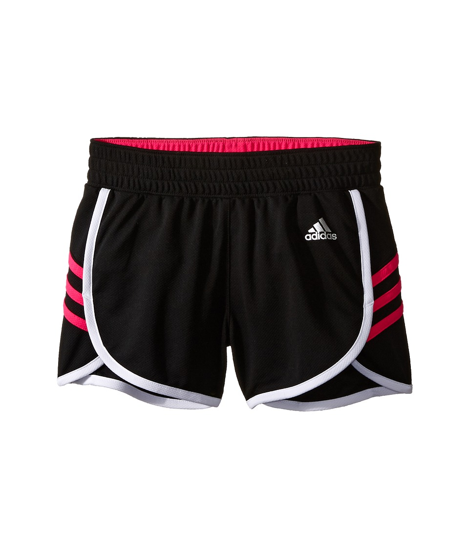 adidas Kids - Ultimate 3 Stripe Knit Shorts (Big Kids) (Black/Shock Pink) Girl's Shorts