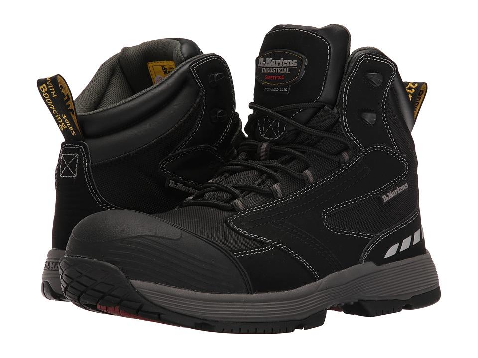 Dr. Martens - Vane Non-Metallic Electrical Hazard Composite Toe 6-Tie Boot (Black Hi Buck) Men's Work Lace-up Boots