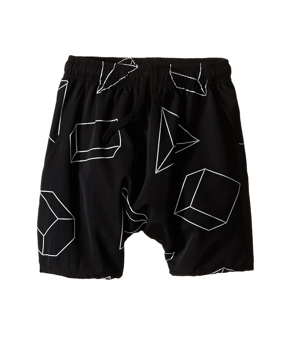 Nununu - Geometric Baggy Surf Shorts (Little Kids/Big Kids) (Black) Kid's Shorts