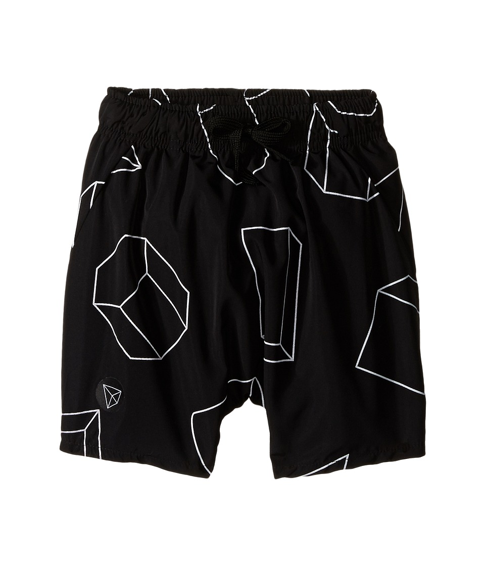 Nununu - Geometric Baggy Surf Shorts (Infant/Toddler/Little Kids) (Black) Kid's Shorts