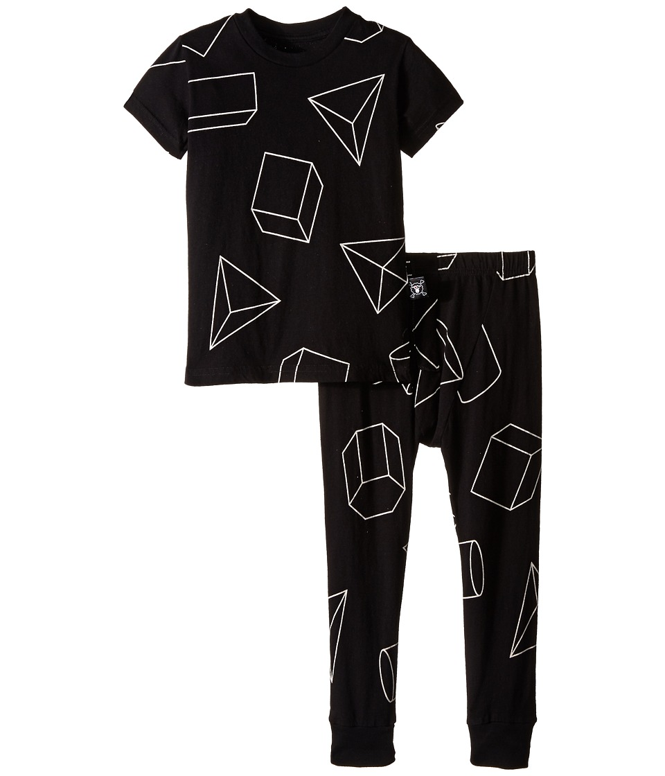 Nununu - Geometric Lounge Wear (Infant/Toddler/Little Kids) (Black) Kid's Active Sets
