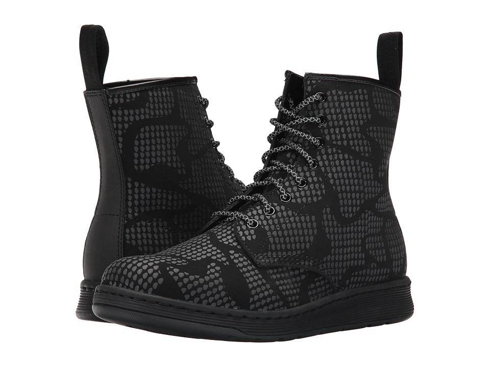 Dr. Martens Newton 8-Eye Boot (Black Veola/Reflective Snake Print Glassine) Lace-up Boots