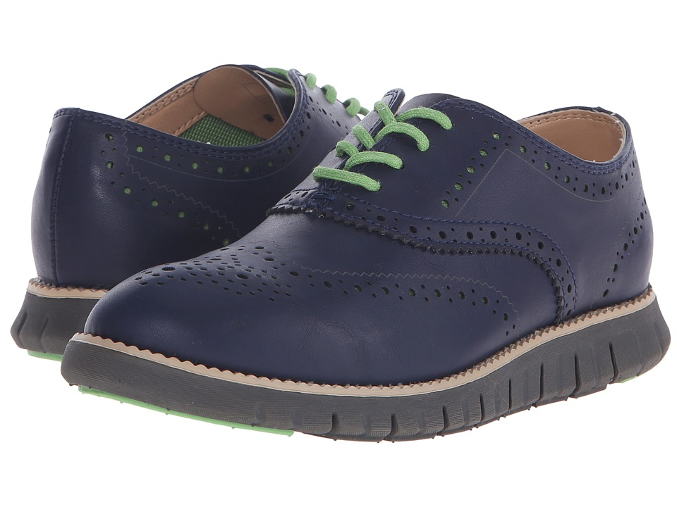 Cole Haan Kids - Z Grand Oxford Perf (Little Kid/Big Kid) (Marine Blue/Charcoal) Boy's Shoes