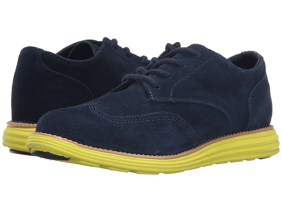Cole Haan Kids - Grand Oxford (Little Kid/Big Kid) (Navy Suede/Wasabi Green) Boy's Shoes
