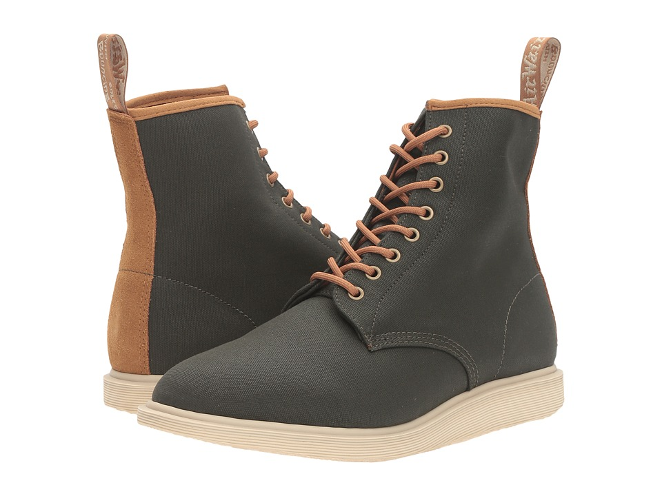 Dr. Martens - Whiton 8-Eye Boot (Army Green 12oz Waxy Canvas/Biscuit Hi Suede WP) Lace-up Boots