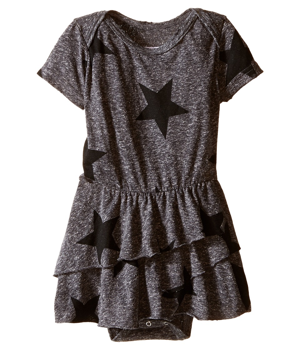 Nununu - Star One-Piece Skirt (Infant) (Charcoal) Girl's Jumpsuit & Rompers One Piece