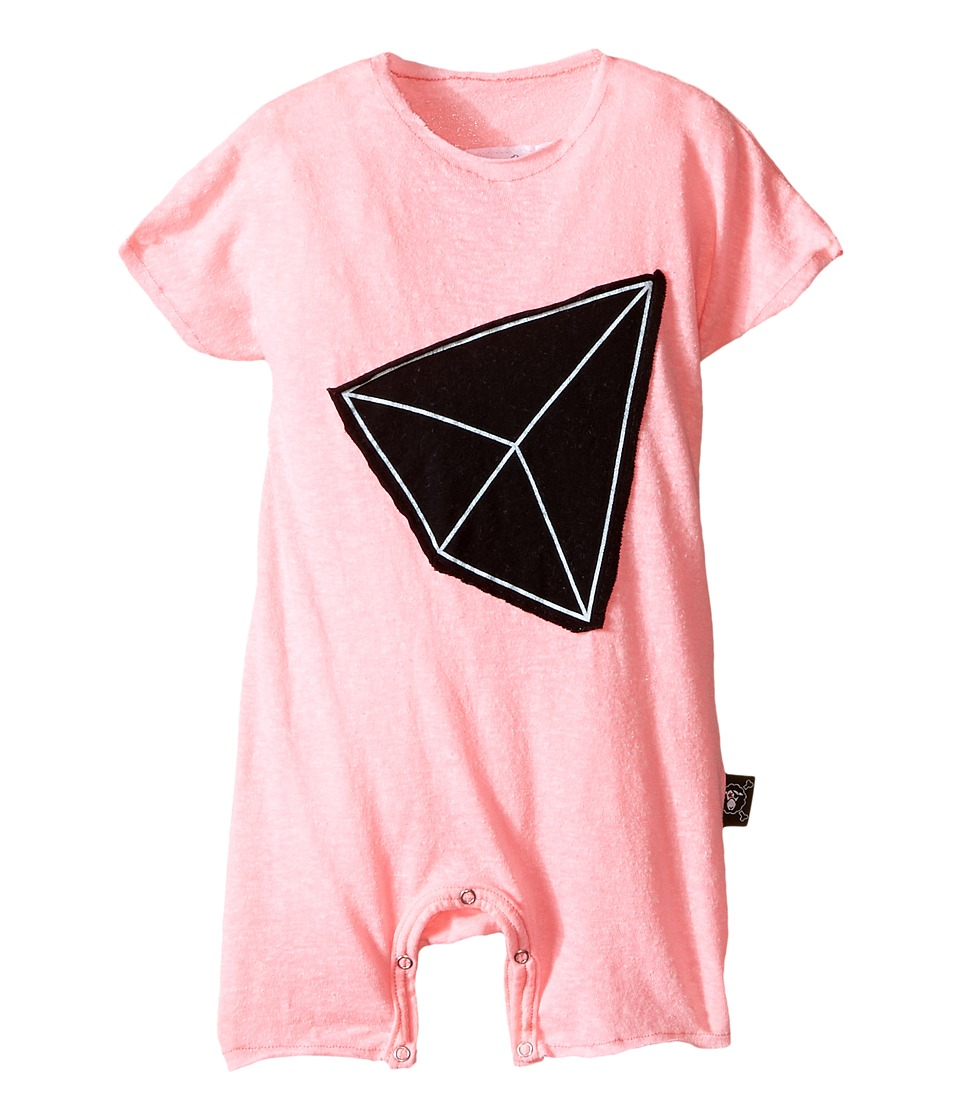 Nununu - Geometric Patch Kimono Playsuit (Infant) (Pink) Girl's Jumpsuit & Rompers One Piece