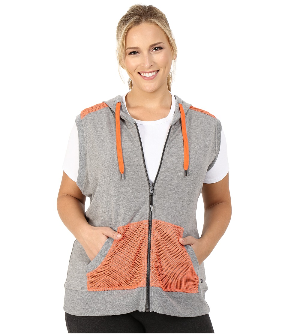 Marika Curves - Plus Size Jenna Hooded Vest (Heather Grey/Tangerine Tango) Women's Vest