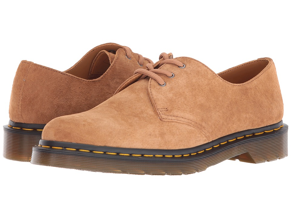 Dr. Martens - 1461 3-Eye Gibson (Tan Soft Buck) Lace up casual Shoes