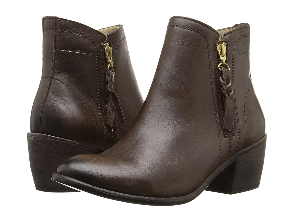 Wolverine - Ella 5 (Brown Leather) Women's Zip Boots