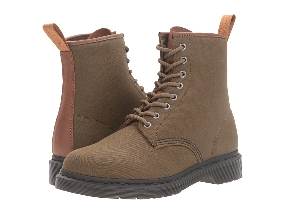 Dr. Martens - 1460 (Grenade Green 12oz. Waxy Canvas/Tan New Laredo) Lace-up Boots