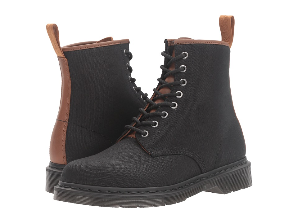 Dr. Martens - 1460 (Black 12oz. Waxy Canvas/Tan New Laredo) Lace-up Boots