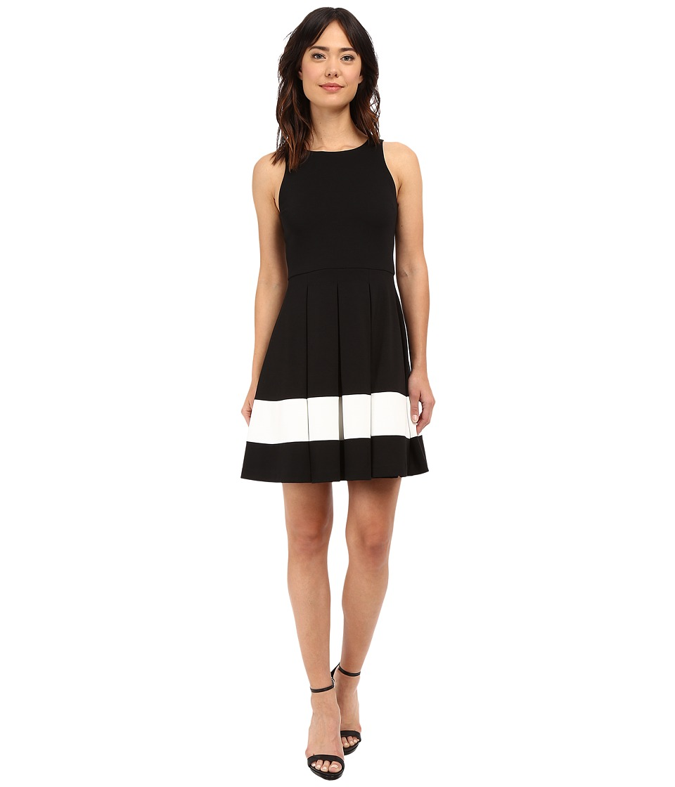 Karen Kane - Stripe Flare Dress (Black/Off-White) Women's Dress