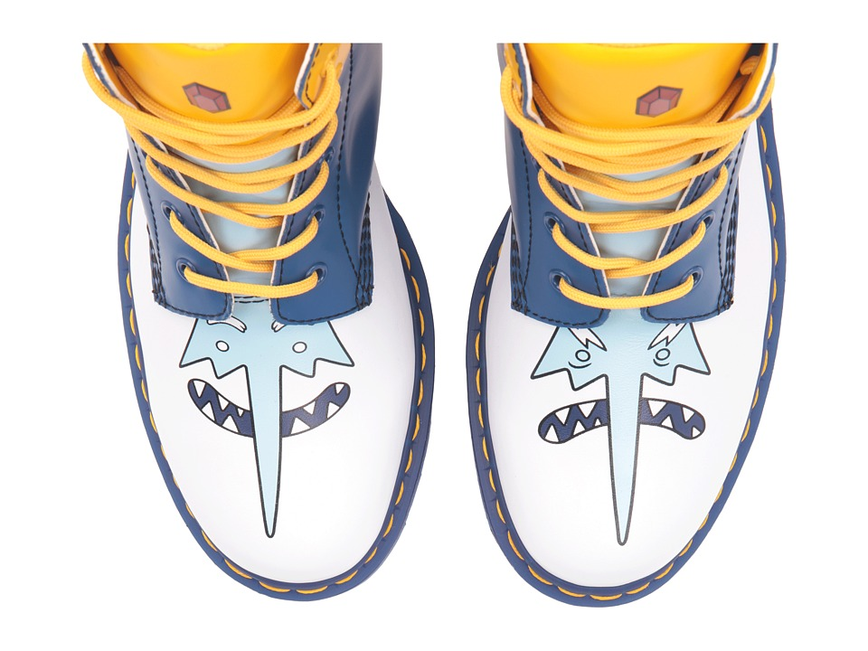 Dr. Martens 939 Ice King 6-Eye Boot (White Softy T/Blue Smooth/Yellow PU) Lace-up Boots