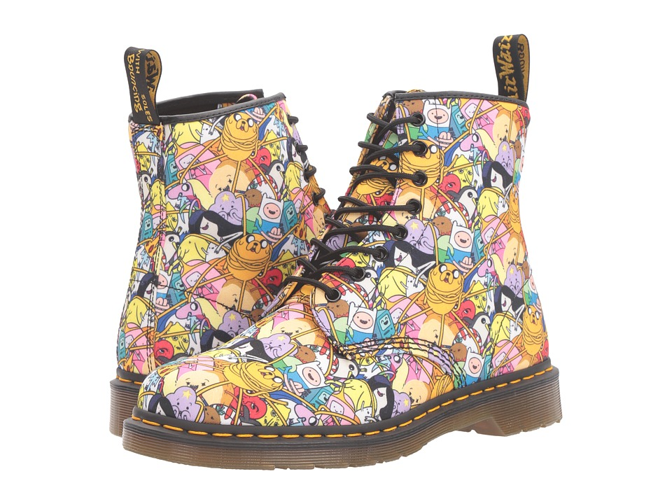 Dr. Martens - Castel Toon 8-Eye Boot (White AT All Character Print T Canvas) Lace-up Boots