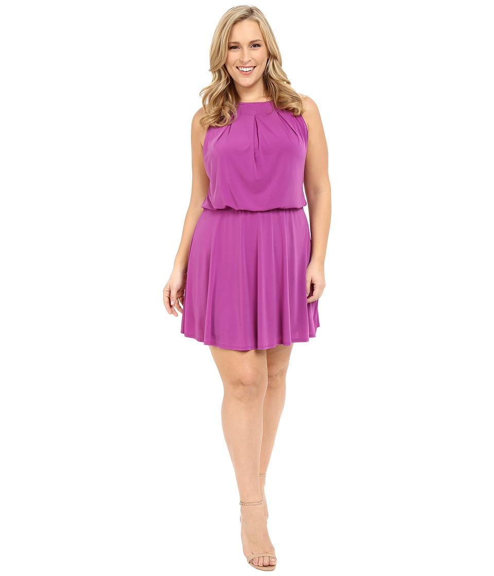 Christin Michaels - Plus Size Sloane Dress with Flare Skirt (Purple) Women's Dress