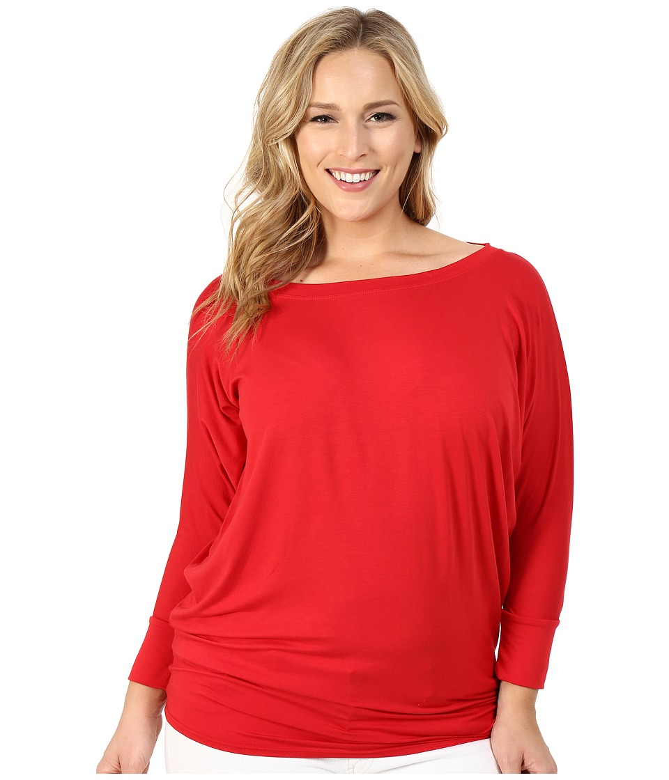 Culture Phit - Plus Size Lara Modal Top (Red) Women's Clothing
