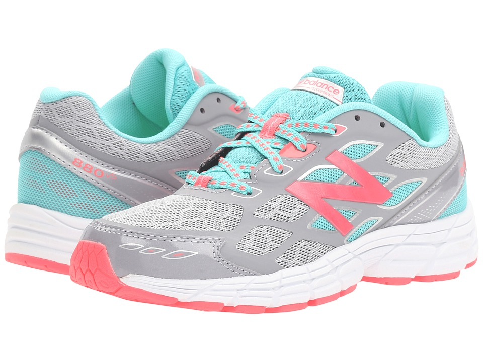 New Balance Kids - 880 (Little Kid/Big Kid) (Grey/Pink) Girls Shoes