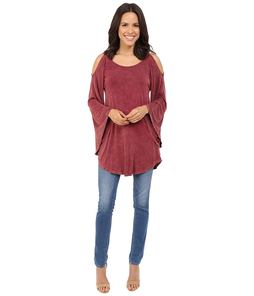 Culture Phit - Evie Washed Cold Shoulder Top (Wine) Women's Clothing