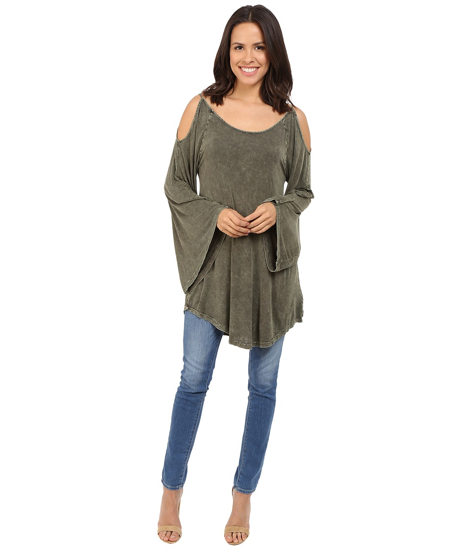 Culture Phit - Evie Washed Cold Shoulder Top (Olive) Women's Clothing