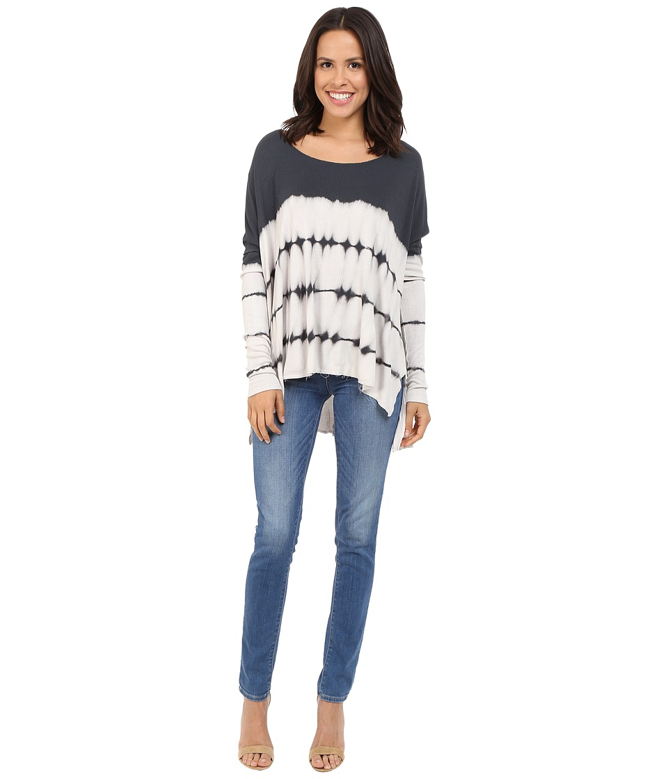 Culture Phit - Clara Long Sleeve Tie-Dye Top (Off-White/Charcoal) Women's Clothing