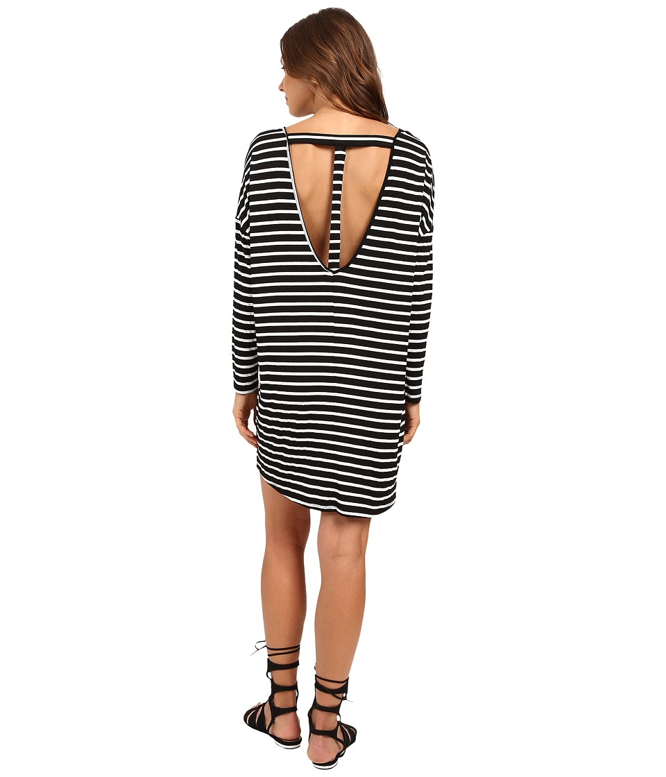 Culture Phit - Vienna 3/4 Sleeve Striped Dress (Black/Ivory) Women's Dress
