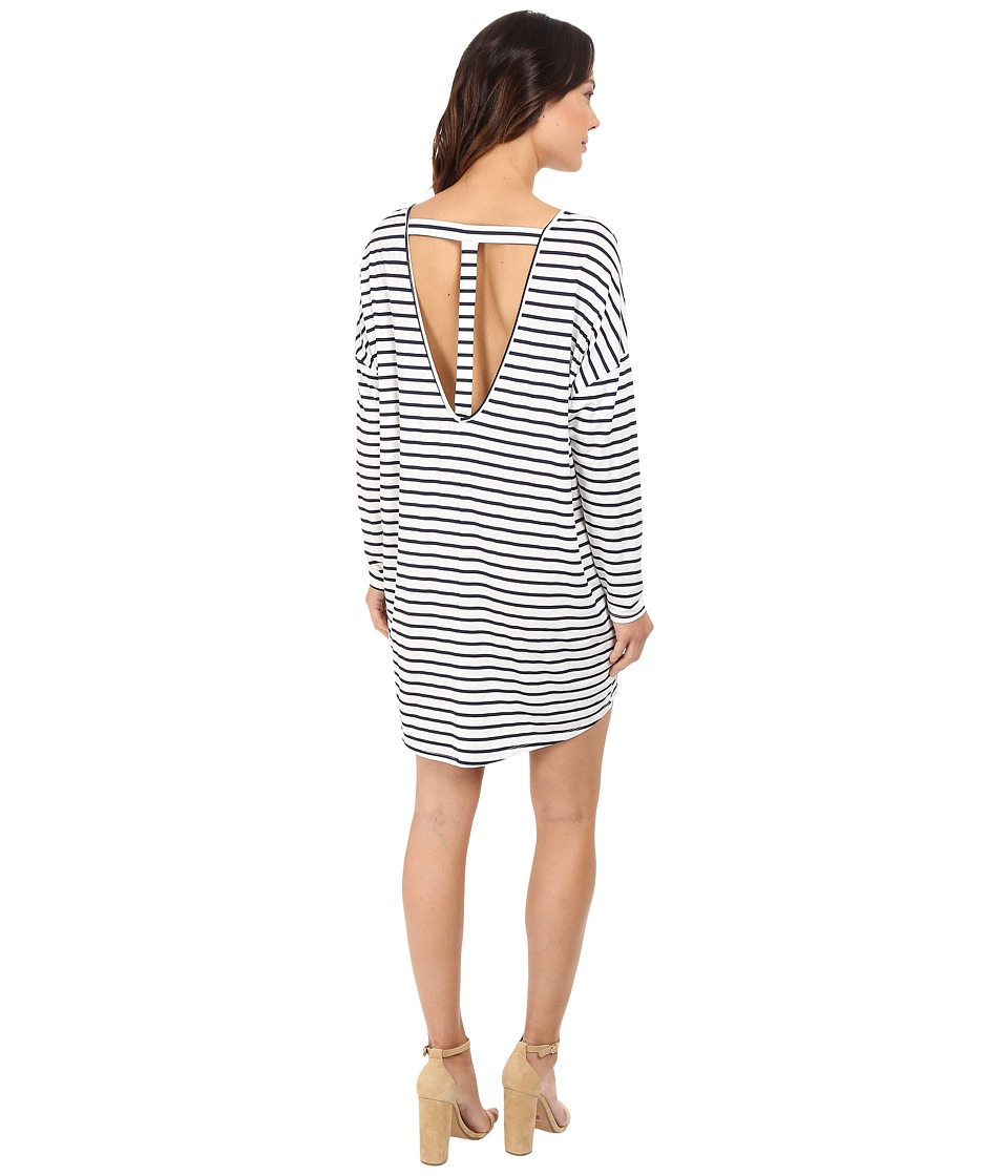 Culture Phit - Vienna 3/4 Sleeve Striped Dress (Ivory/Black) Women's Dress