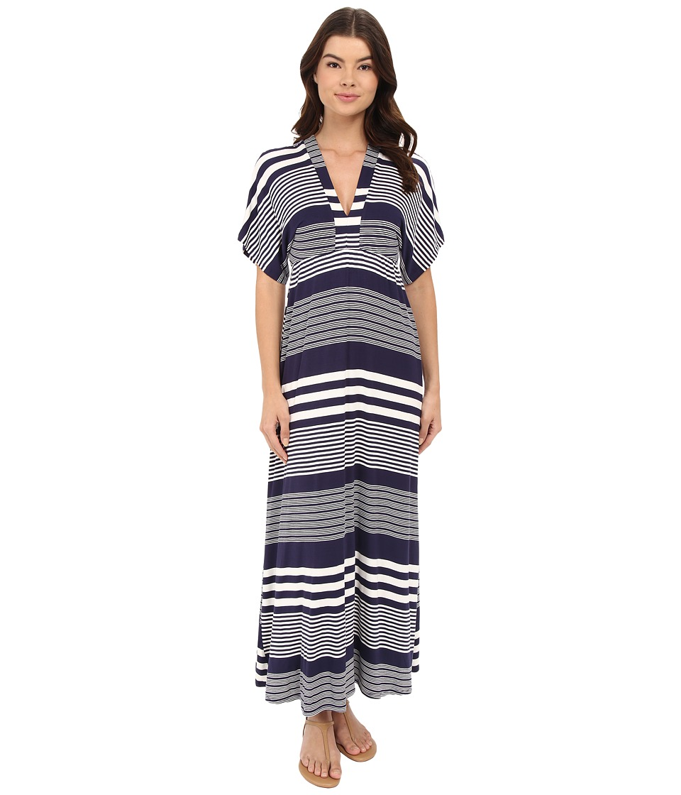 Culture Phit Amellia V-Neck Maxi Dress (Navy/White) Women