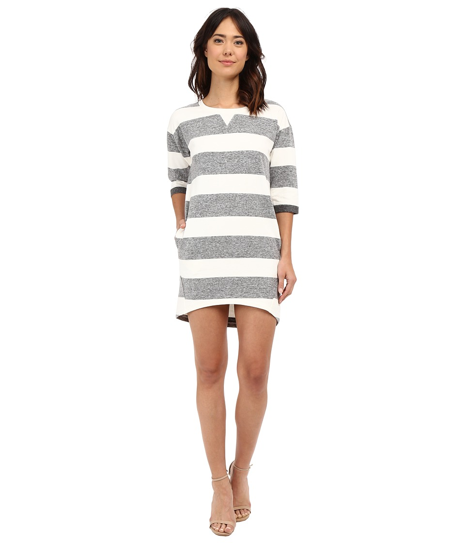Culture Phit Kaya Striped Sweatshirt Dress (Grey/Ivory) Women