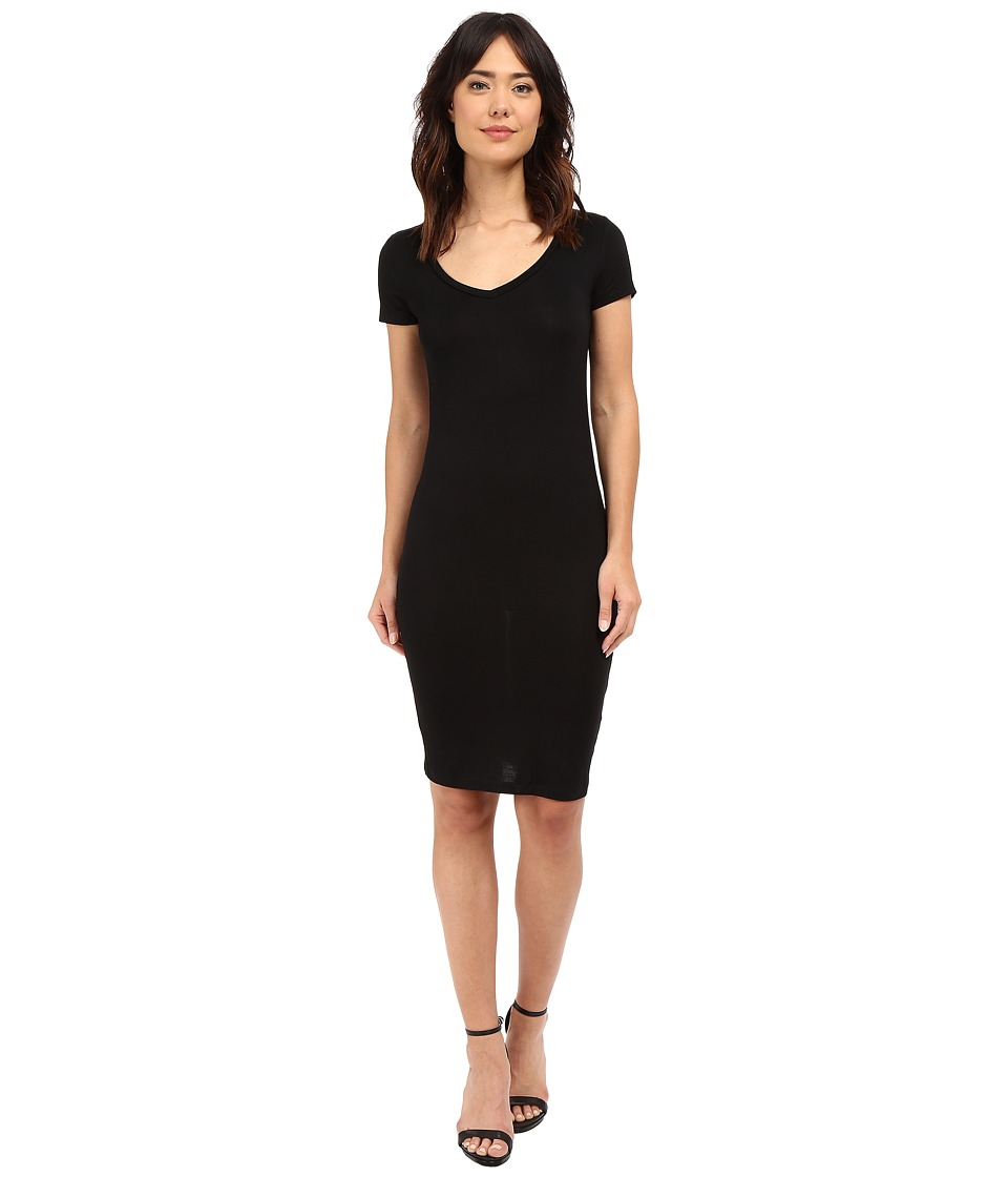 Culture Phit - Sadie Short Sleeve V-Neck Midi Dress (Black) Women's Dress