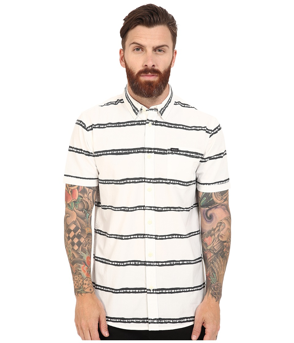 RVCA - The Drags Short Sleeve Woven (Vintage White) Men's Short Sleeve Button Up