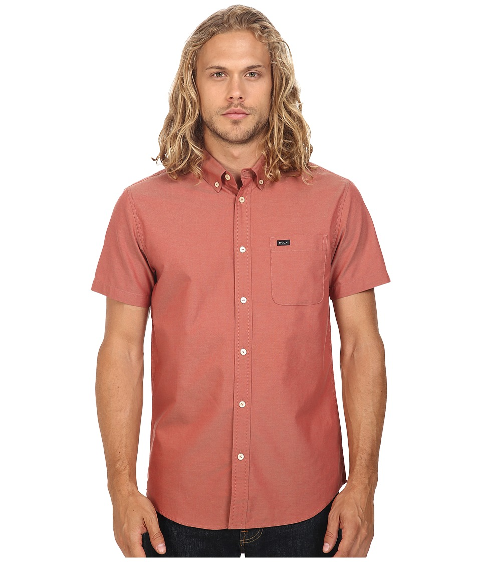 RVCA - That'll Do Oxford Short Sleeve Woven (Pompei Red) Men's Short Sleeve Button Up