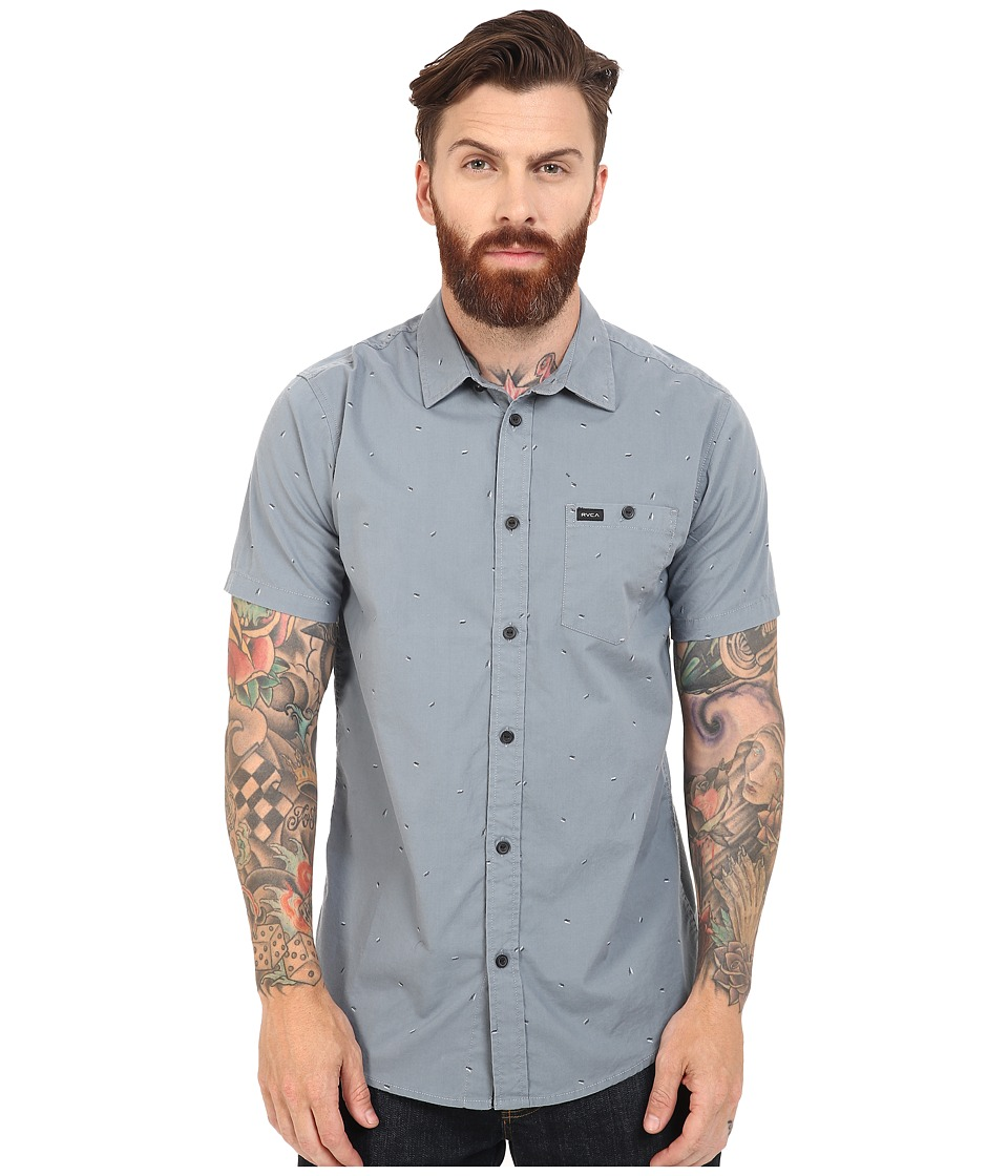 RVCA - Particle Theory Short Sleeve Woven (Stormy Blue) Men's Clothing