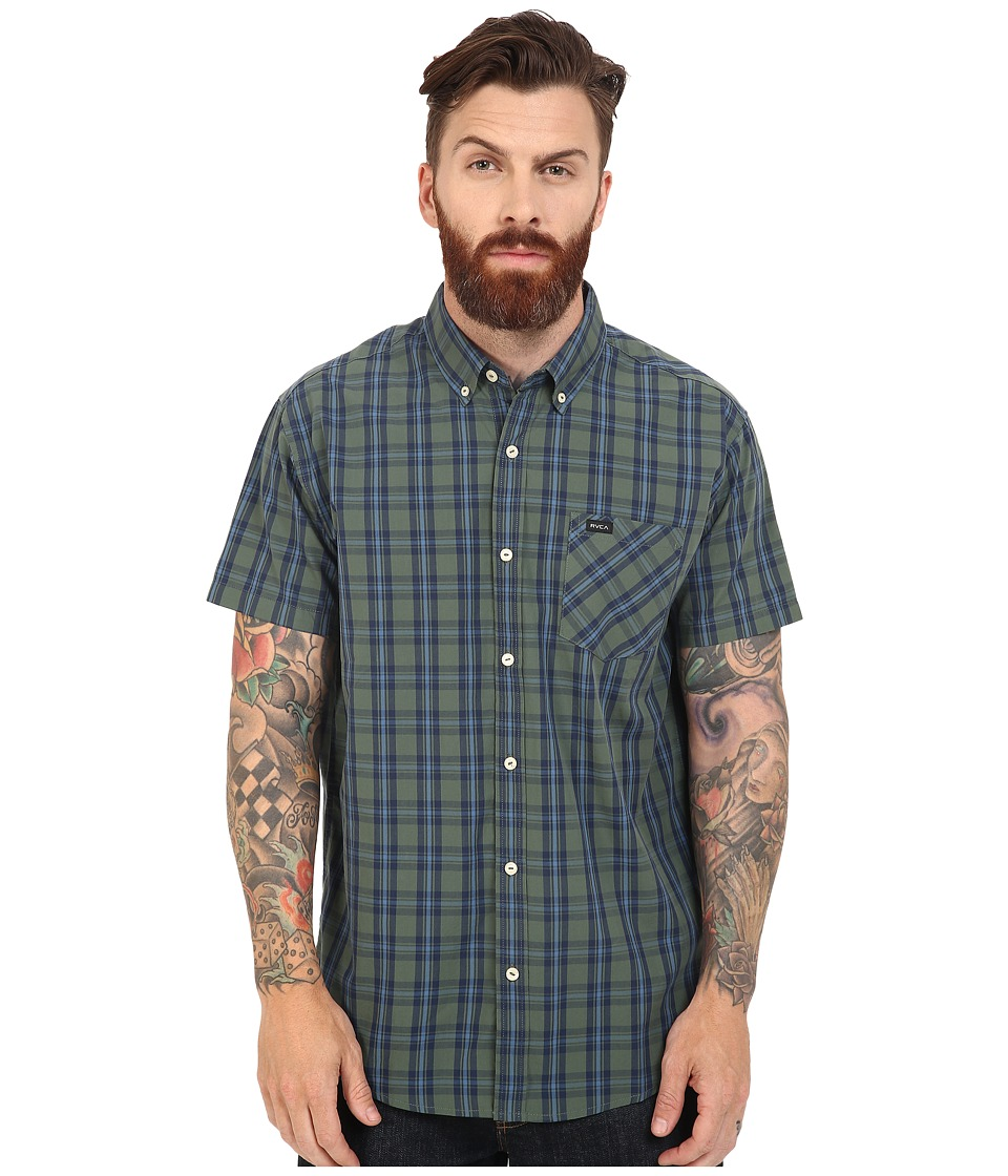 RVCA - Transfer Short Sleeve Woven (Duck Green) Men's Short Sleeve Button Up