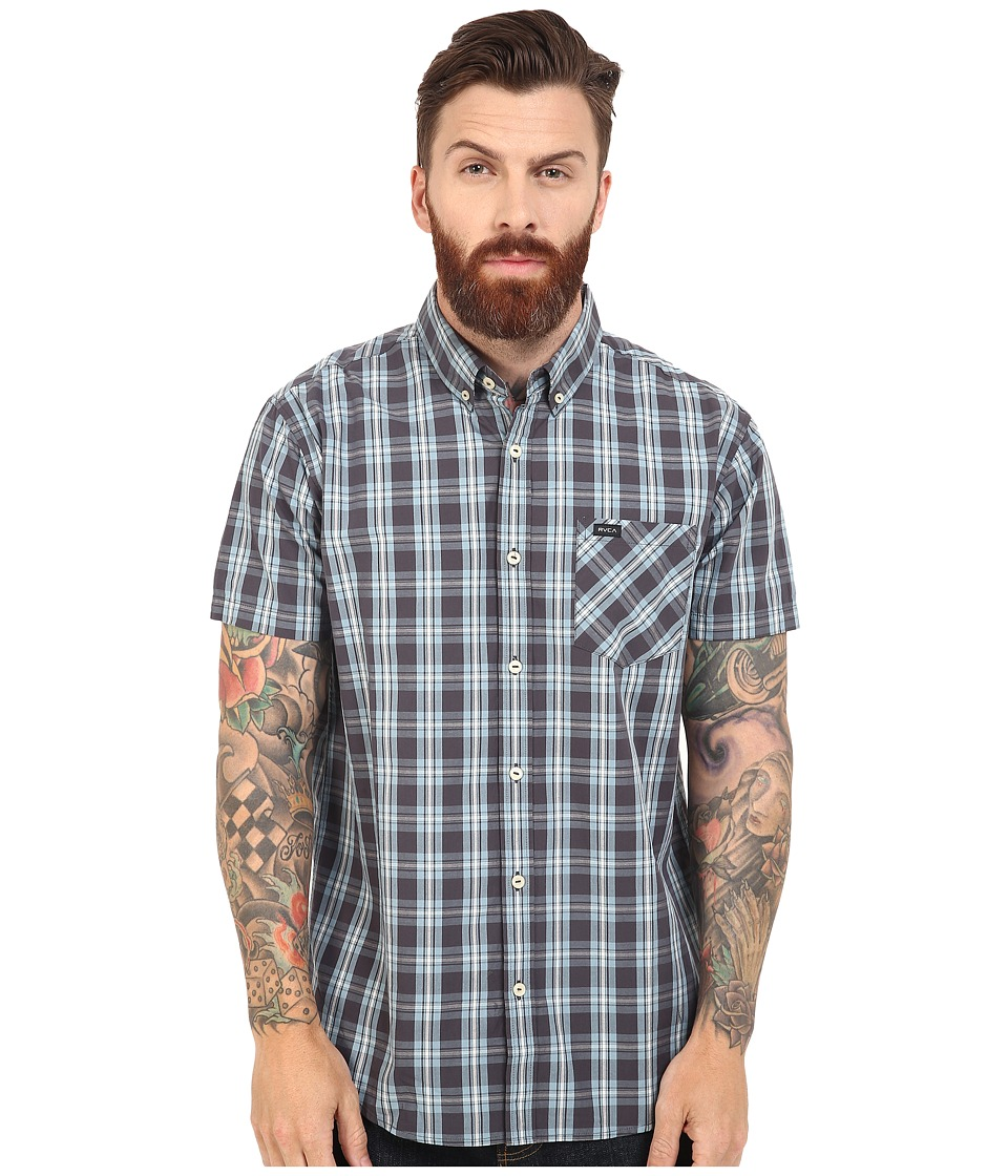 RVCA - Transfer Short Sleeve Woven (Steel) Men's Short Sleeve Button Up
