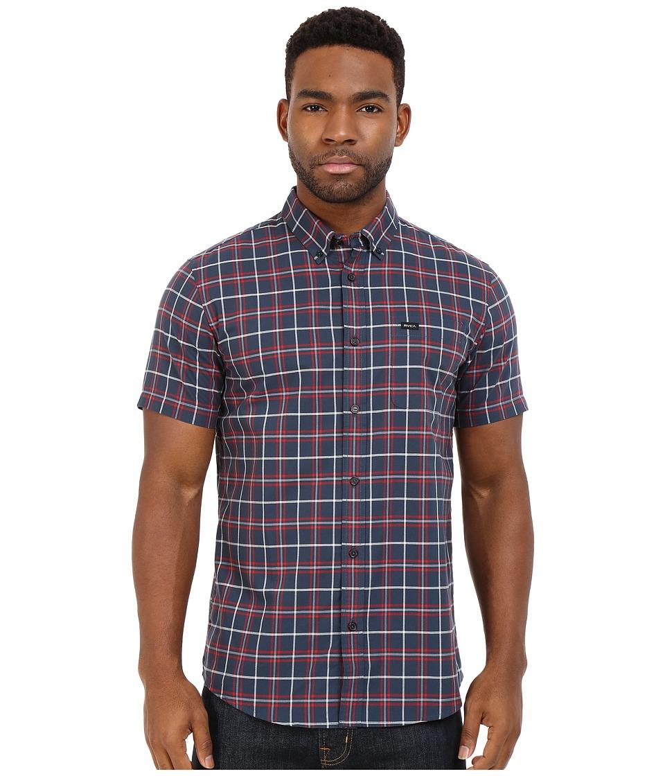RVCA - That'll Do Plaid Short Sleeve Woven (Dark Denim) Men's Clothing