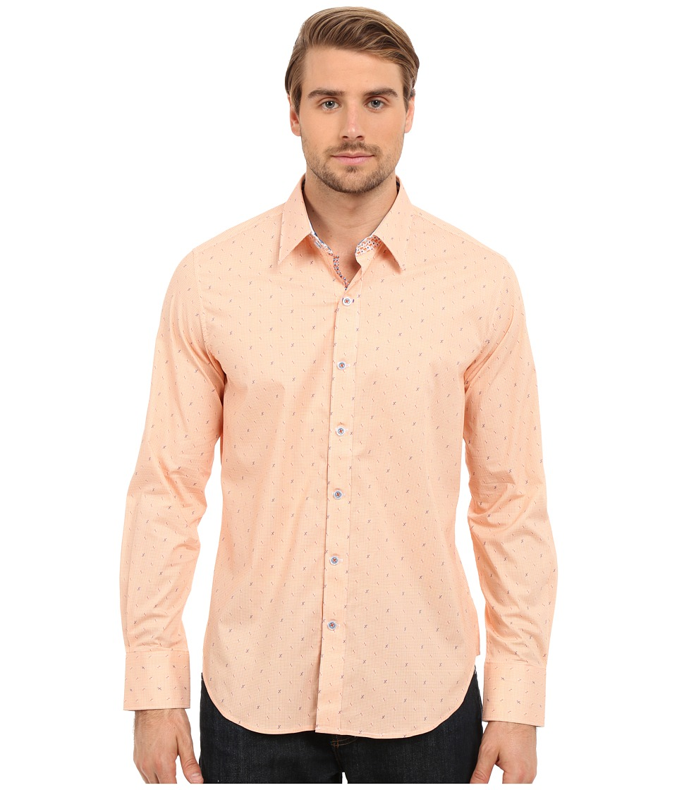 Robert Graham - X Marks the Spot Long Sleeve Woven Shirt (Orange) Men's Long Sleeve Pullover