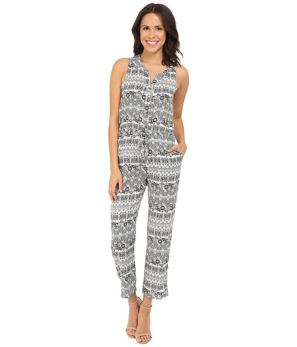 Brigitte Bailey - Harlyn Sleeveless Printed Jumper (Off-White/Black) Women's Jumpsuit & Rompers One Piece