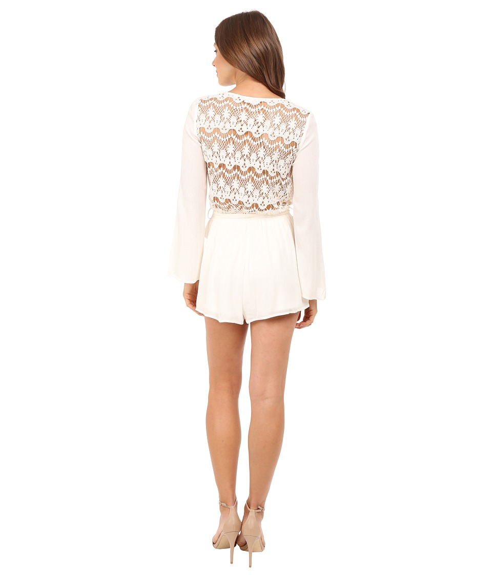 Brigitte Bailey - Priya Long Sleeve Romper with Back Lace Detail (Cream) Women's Jumpsuit & Rompers One Piece