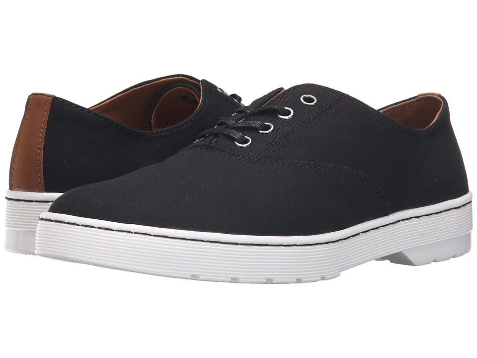 Dr. Martens Lakewood 4-Eye Canvas Oxford Shoe (Black 8oz. Canvas/Tan Mohawk) Lace up casual Shoes