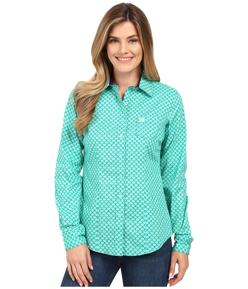 Cinch - Cotton Plain Weave w/ Print (Green) Women's Long Sleeve Button Up