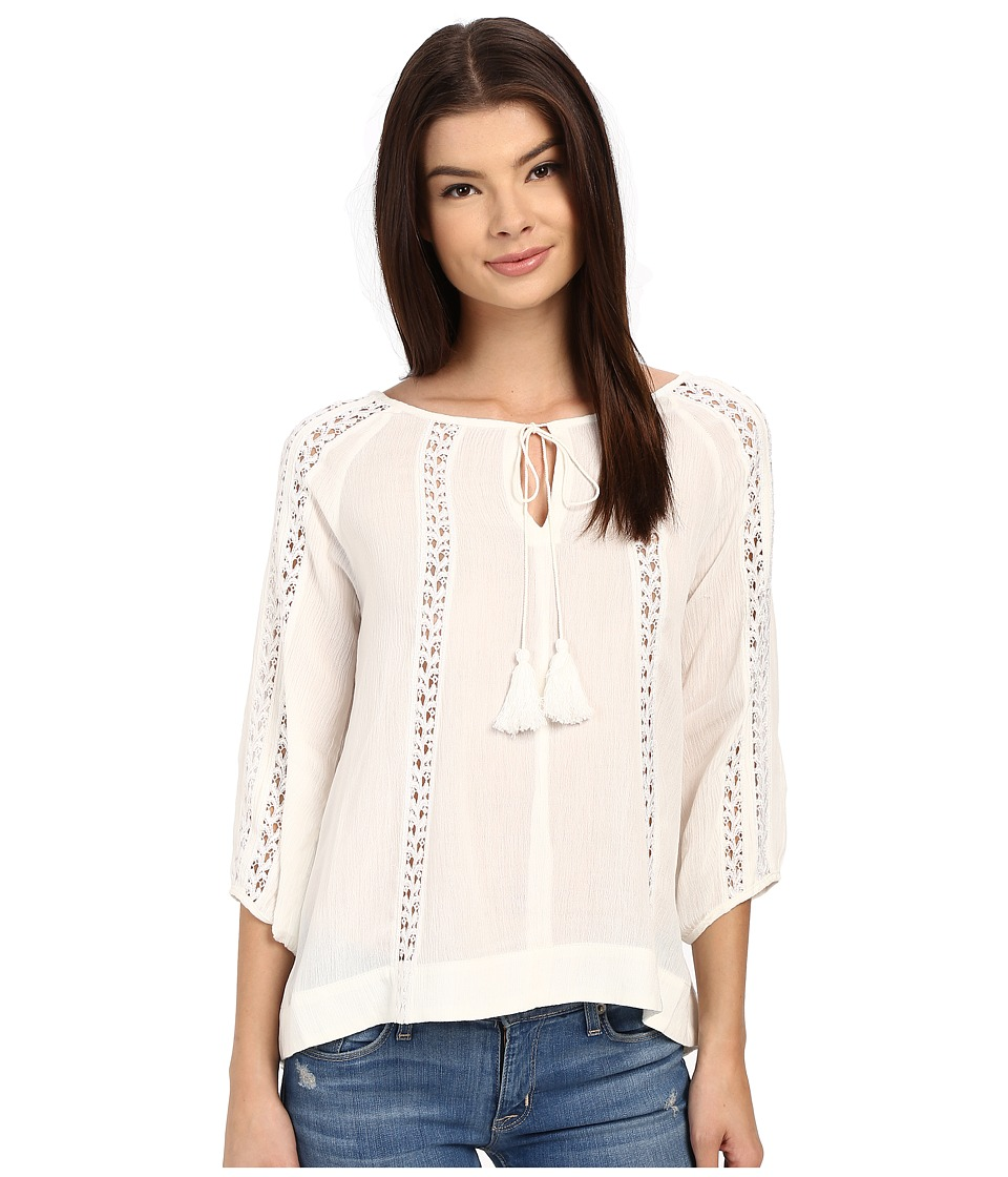 Brigitte Bailey - Maren 3/4 Sleeve Top with Lace Detail (Ivory) Women's Clothing
