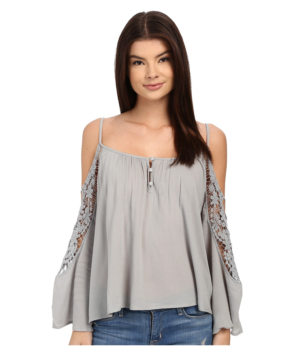 Brigitte Bailey - Joslyn Cold Shoulder Top with Crochet Detail (Grey) Women's Clothing