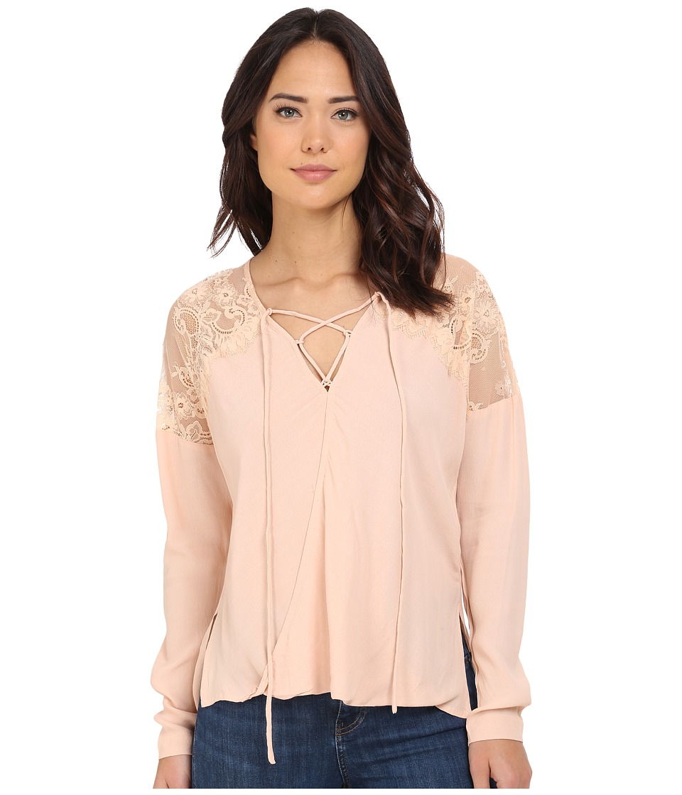 Brigitte Bailey - Adley Front Tie Top with Lace Detail (Blush) Women's Clothing